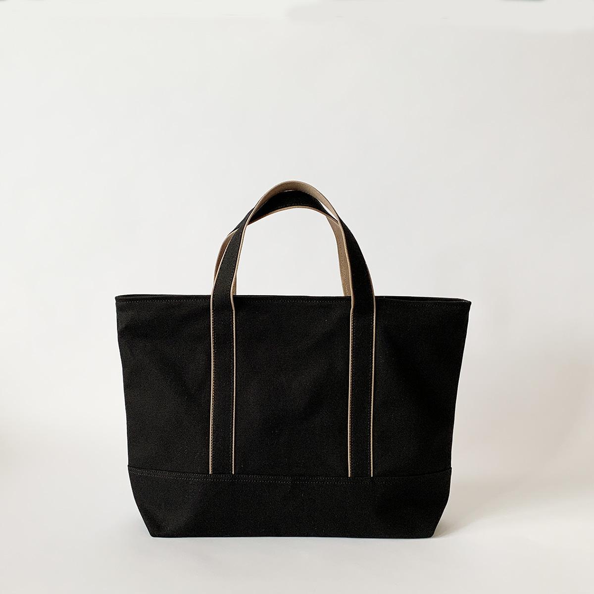 ジッパートート / ブラック:Mサイズ(持ち手短め)